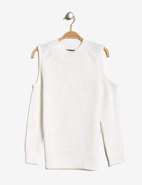 Cream jumper with cut-out shoulders