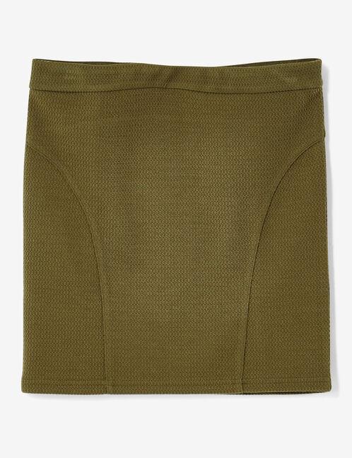 jupe tube texturée kaki