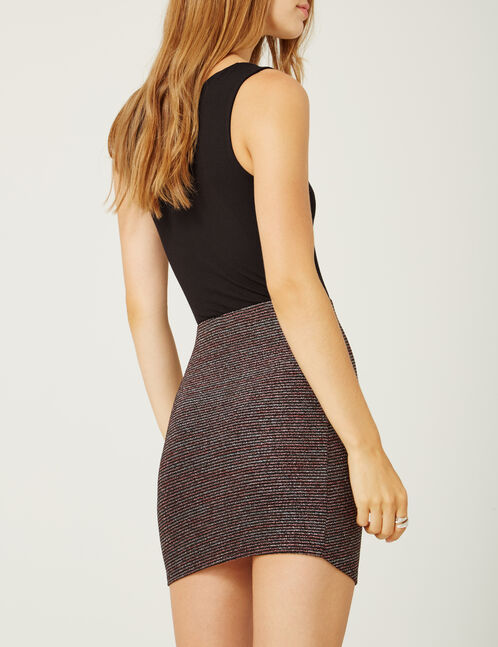 Black striped skirt with lurex detail