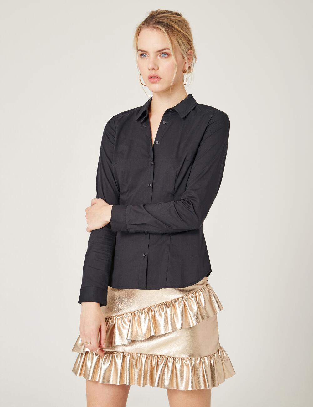 chemise basic cintr noire femme jennyfer. Black Bedroom Furniture Sets. Home Design Ideas