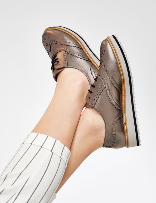 Silver derby shoes with perforated detail