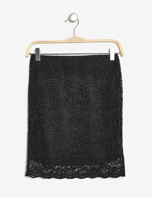 Black lace tube skirt