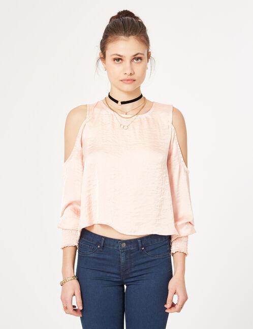 blouse épaules ajourées rose clair