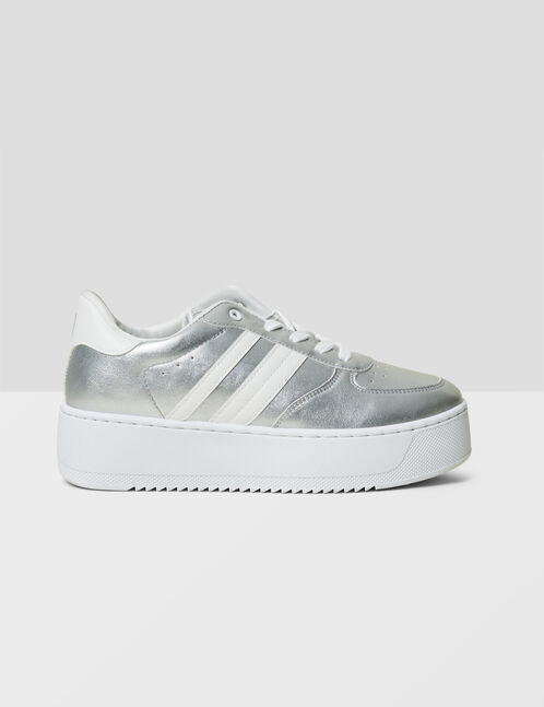 Silver platform sole trainers