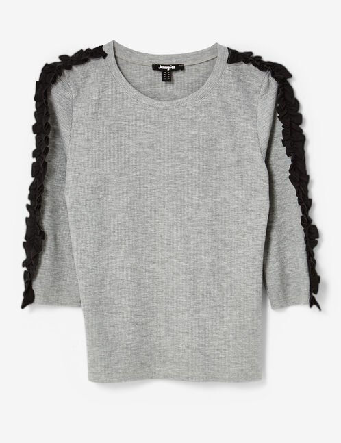 tee-shirt avec volants gris chiné