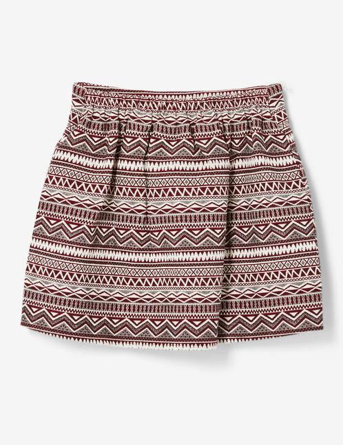 jupe courte motif aztèque bordeaux et écrue