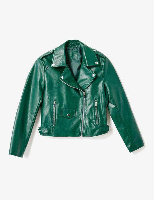 Green biker jacket with decorative zip detail