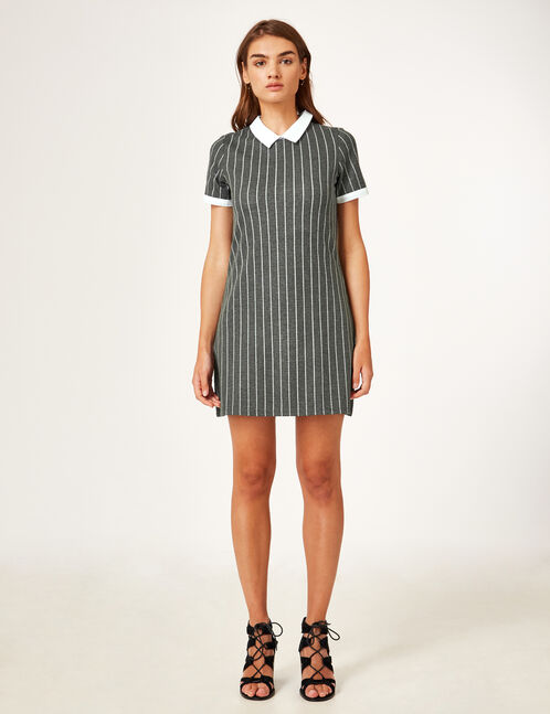 Grey striped dress with a white collar