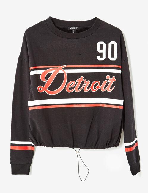 Black sweatshirt with text design detail