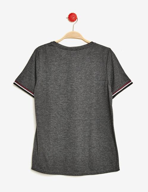 tee-shirt imprimé girl gang gris anthracite chiné