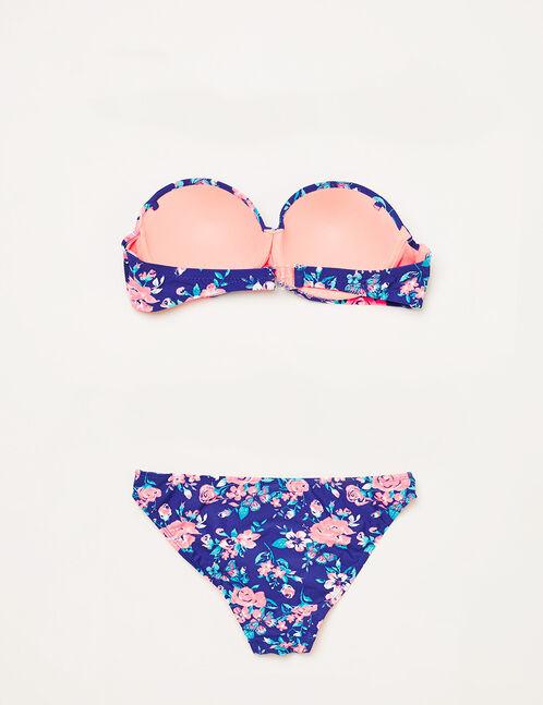 Maillot de bain fleuri bleu et rose