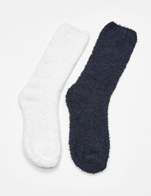 chaussettes mi-hautes noires et écrues