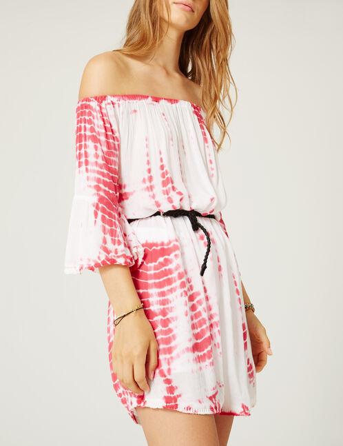 robe épaules dénudées blanche et rose