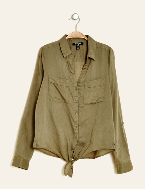 Khaki tie-fastening cotton shirt