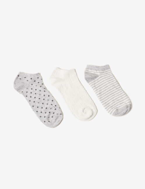 Grey and cream patterned socks
