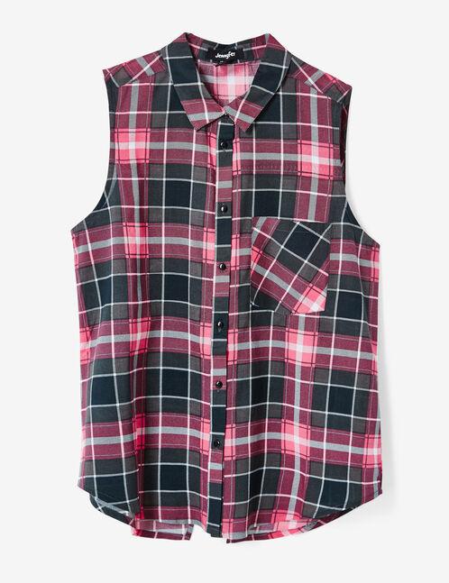 chemise à carreaux gris et rose