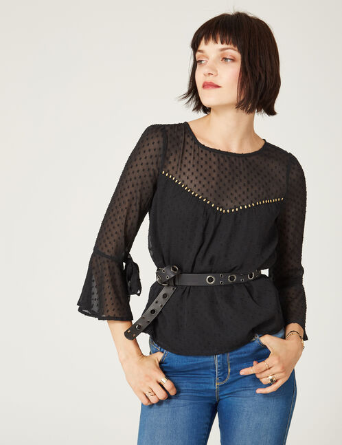Black dobby spot blouse with stud detail