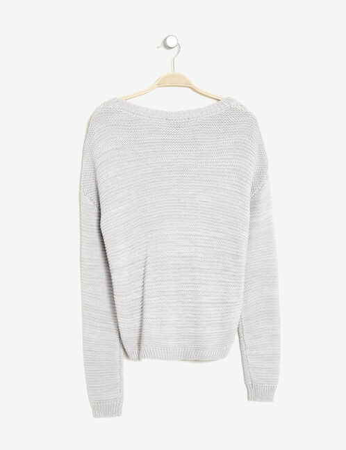 Grey marl and cream cable knit jumper