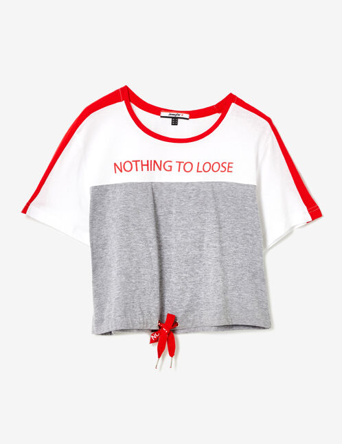 tee-shirt nothing to loose gris chiné, blanc et rouge