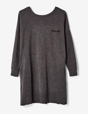 robe sweat avec laçage dos gris anthracite chiné