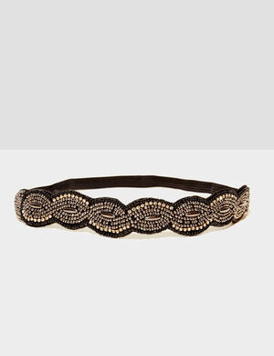headband avec perles noir et argenté