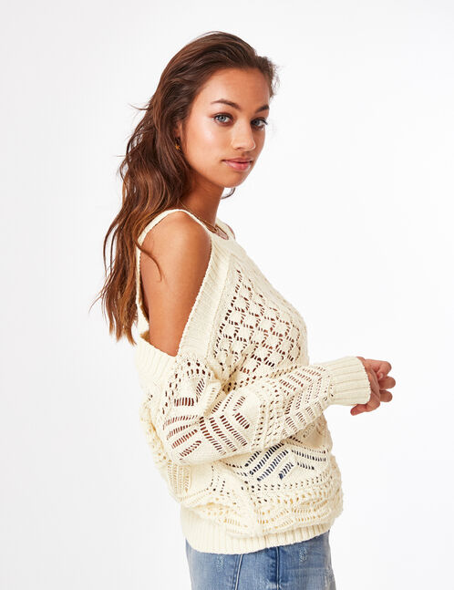 Cream off-the-shoulder openwork jumper