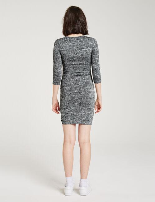 Charcoal grey marl drape-effect dress