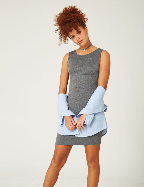 Charcoal grey marl tube dress with crossover back detail