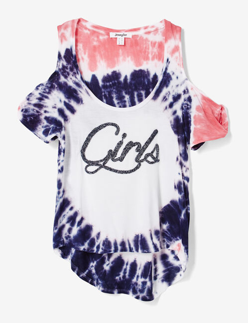 tee-shirt tie and dye blanc, rose et violet