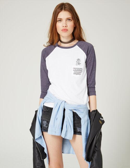 tee-shirt bicolore imprimé blanc et indigo chiné