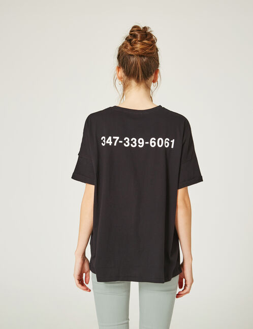 Black T-shirt with text design detail