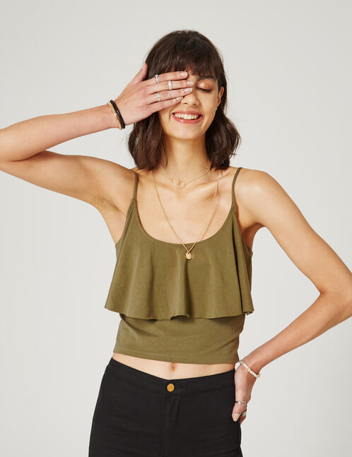 Khaki crop top with frill detail