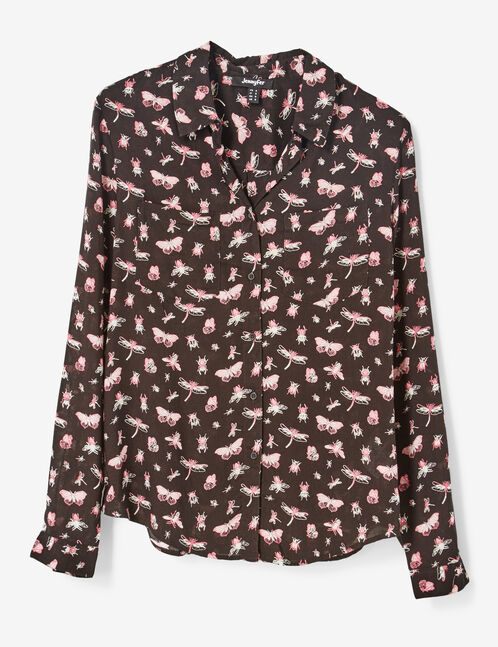 Black, pink and white insect print shirt