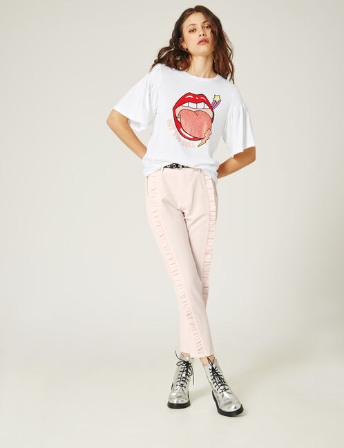 Light pink tailored trousers with frill detail