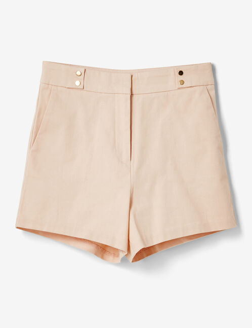 Light pink high-waisted tailored shorts