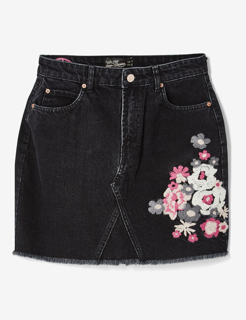 Black denim skirt with embroidered detail