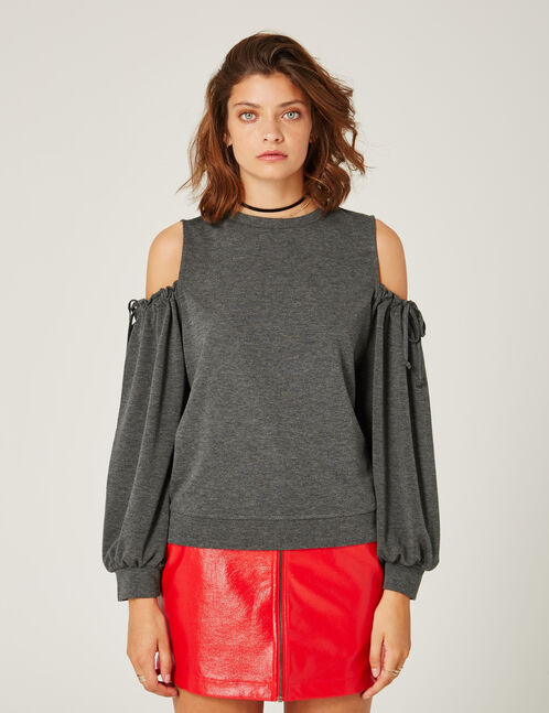 Charcoal grey marl cold shoulder sweatshirt