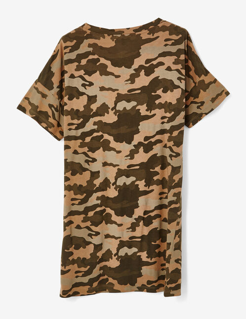 Khaki camouflage dress with text design detail