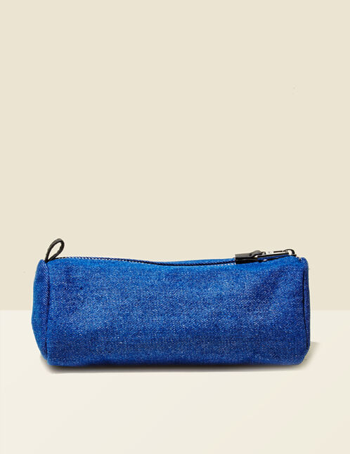 Blue denim make-up bag with patch detail