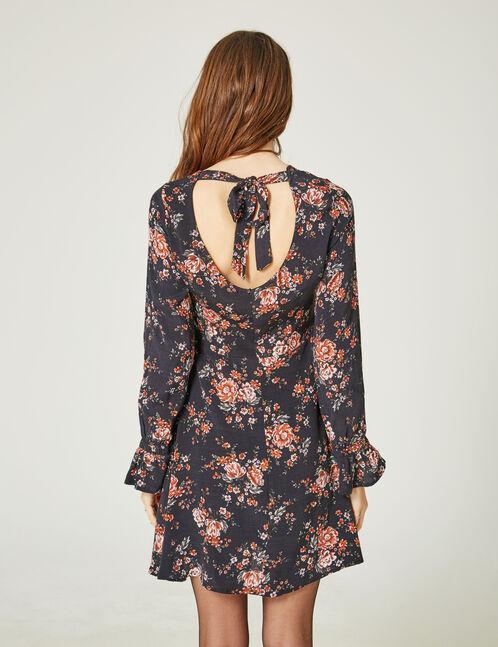 robe imprimé fleuri noire