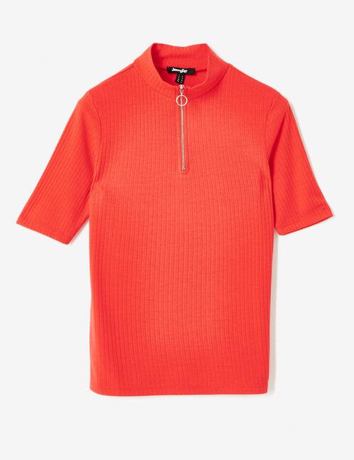 tee-shirt avec zip rouge
