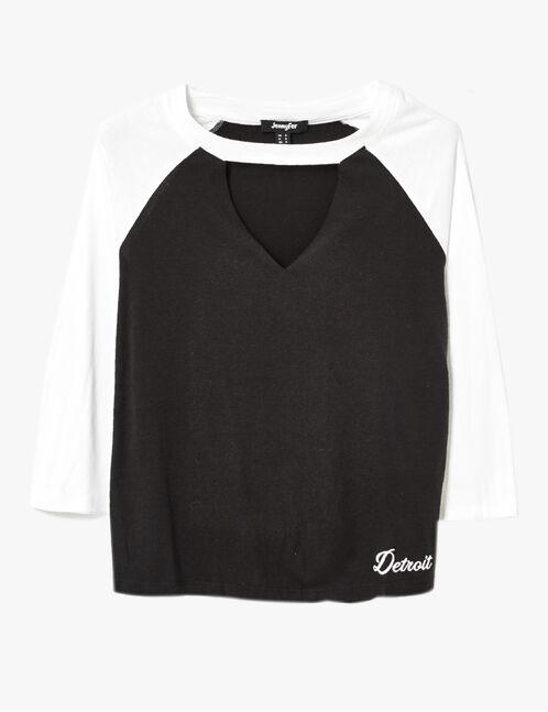 tee-shirt avec ouverture noir et blanc