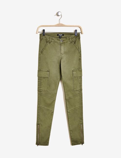 pantalon cargo taille basse kaki