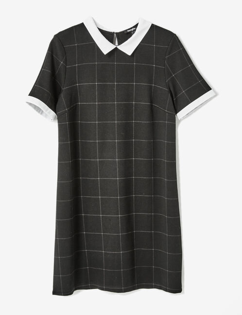 Black checked dress with white collar