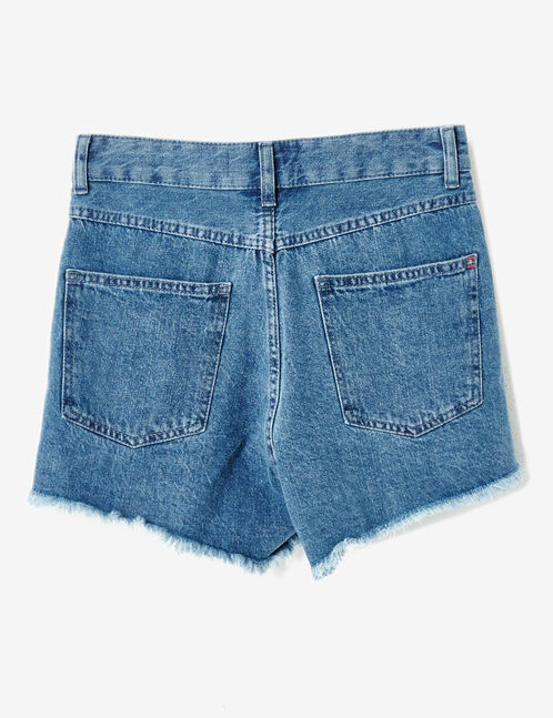Medium blue denim shorts with text design detail