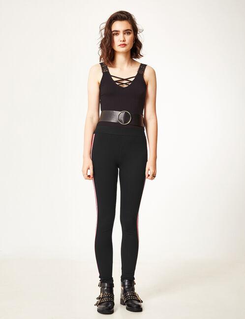 legging avec rayures noir
