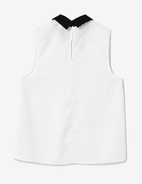 White blouse with black collar detail