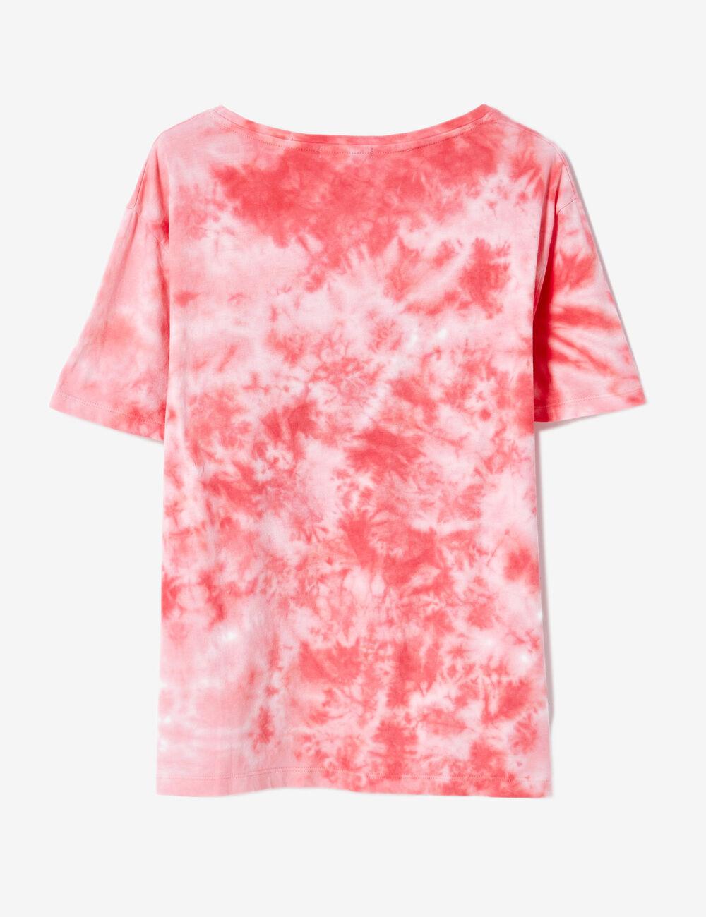tee shirt tie dye message rose et blanc femme jennyfer. Black Bedroom Furniture Sets. Home Design Ideas