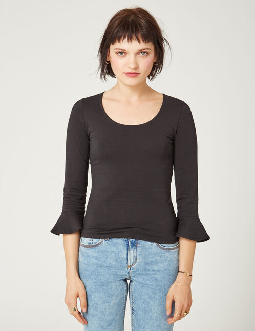 Black top with pagoda sleeves