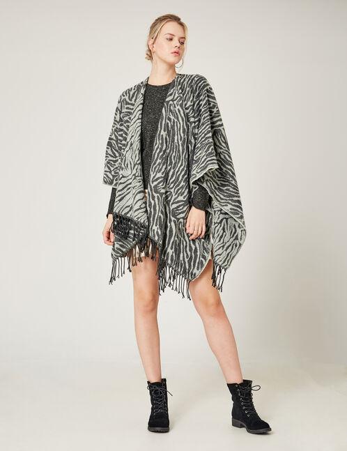 Grey zebra print cape